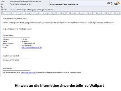 Hinweis an die Internetbeschwerdestelle zu Wallpart