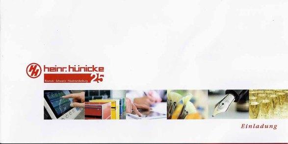 Hünicke Rostock einladung zum 25jährigen firmenjubiläum heinr hünicke rostock