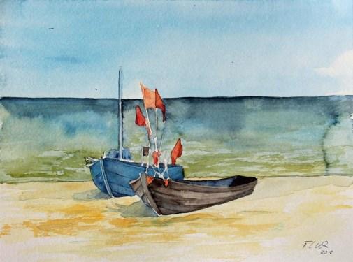 Fischerboote am Ostseestrand (c) Frank Koebsch