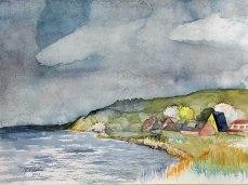 Regen im Frühling auf dem Bodden vor Middelhagen (c) Aquarell von Frank Koebsch