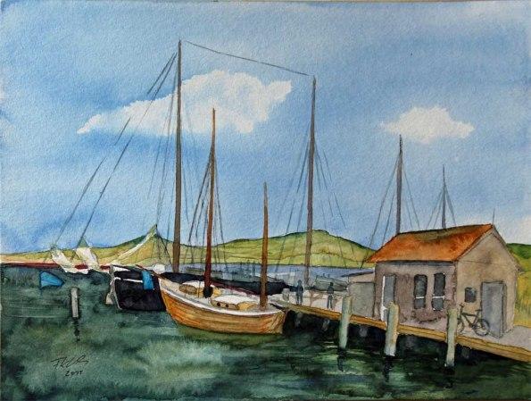 Zeesboot und Traditionssegler im Hafen von Gager (c) Aquarell von Frank Koebsch