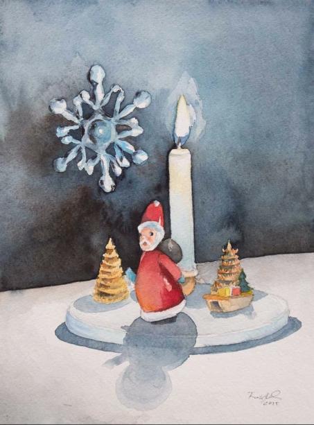 Advent, Advent ein Lichtlein brennt (c) Aquarell von Frank Koebsch K
