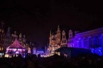 beleuchtete Rostocker Innenstadt beim Rostocker Lichfest (c) Frank Koebsch