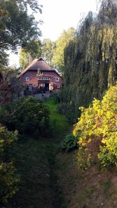 Herbst vor dem 400 Jahre alten Reetdachhaus der Fam Besch in Middelhagen (c) Frank Koebsch