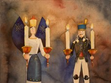 Weihnachtsgrüße aus dem Erzgebirge (c) ein Aquarell mit Engel und Bergmann von Frank Koebsch