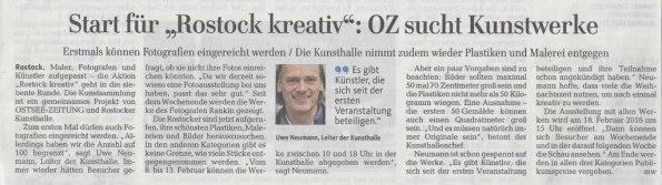 Ankündigung von Rostock kreativ 2016 - Ostsee Zeitung 2015 12 17