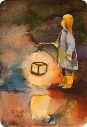Dort oben leuchten die Sterne und unten leuchten wir (c) Miniatur in Aquarell mit einem Laternenkind von Frank Koebsch