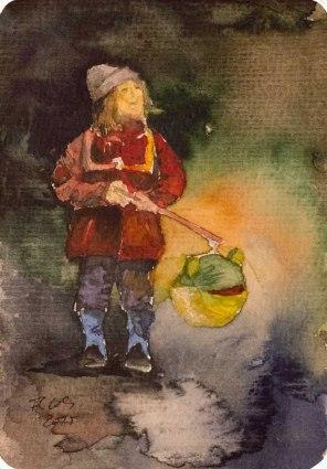 Kommt, wir woll'n Laterne laufen (c) Miniatur in Aquarell von Frank Koebsch