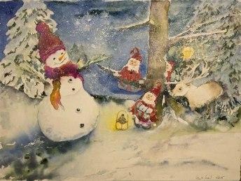 Märchenzeit (c) ein Weihnachtsaquarell von Hanka Koebsch