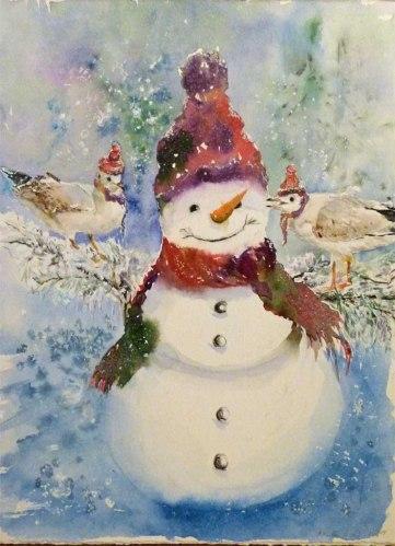 Weihnachtsgrüße von der Ostsee (c) ein Schneemann in Aquarell von Hanka Koebsch