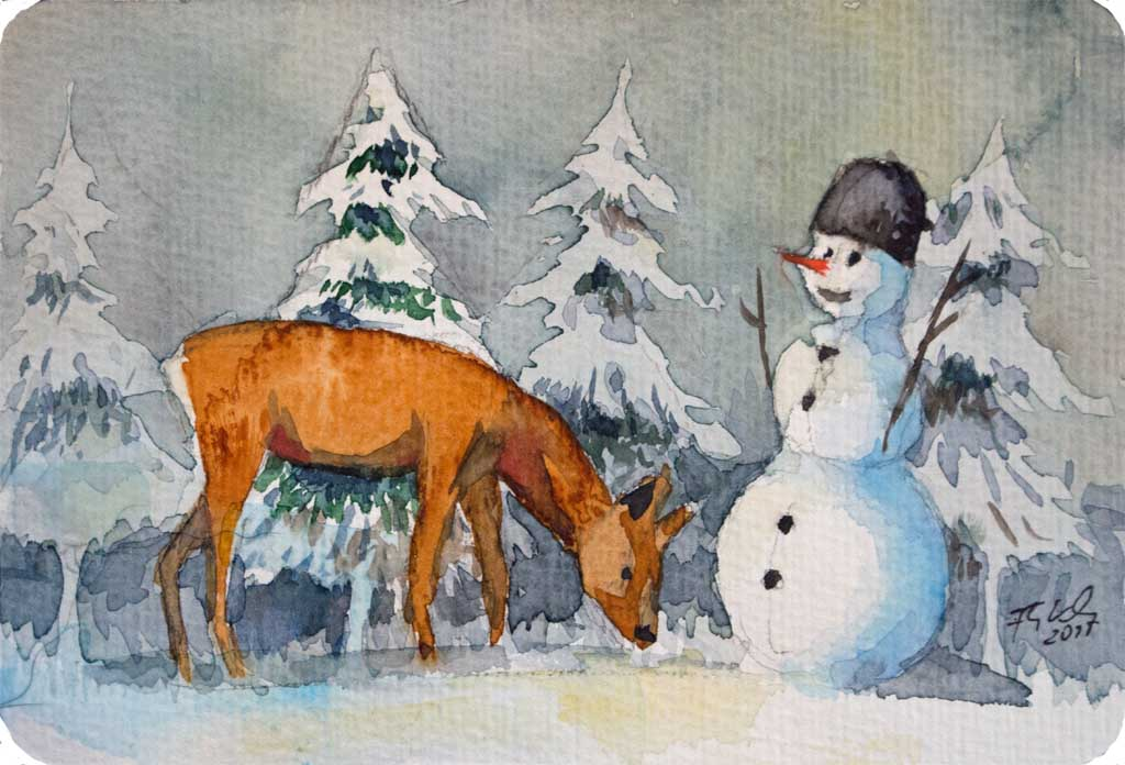 Frohe weihnachten bilder aquarelle vom meer mehr von frank koebsch - Aquarell weihnachten ...