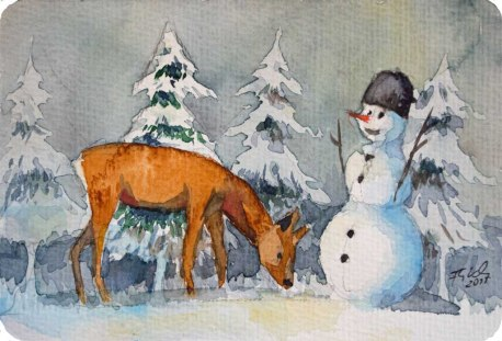 Winter wonderland (c) Miniatur in Aquarell von Frank Koebsch