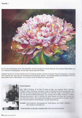 Möglichkeiten von Gesso und Strukturpasten im Aquarell - Artikel von Frank Koebsch in der Zeitschrift Palette - Schlussseite