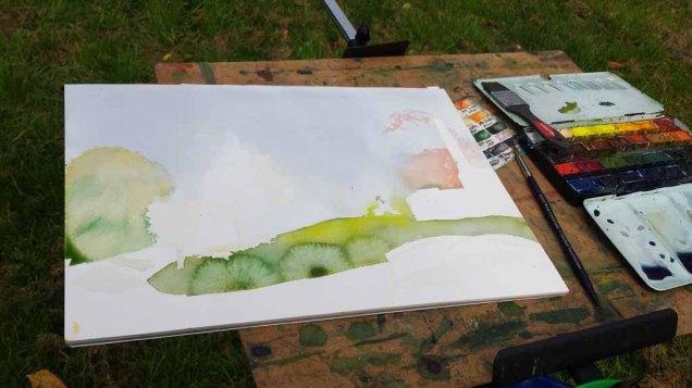 Ein Herbstaquarell entsteht im Park von Putbus (c) Frank Koebsch (1)
