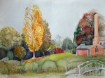 Herbst im Schlosspark von Putbus (c) Aquarell von Frank Koebsch