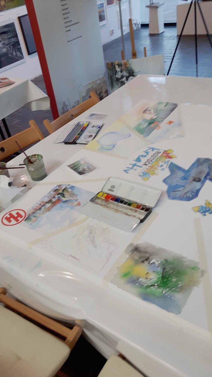 Pause beim Malen bei Rostock kreativ in der Kunsthalle Rostock (c) Frank Koebsch (2)