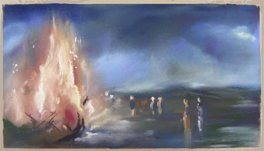 Osterfeuer – ein Pastell von Hanka Koebsch