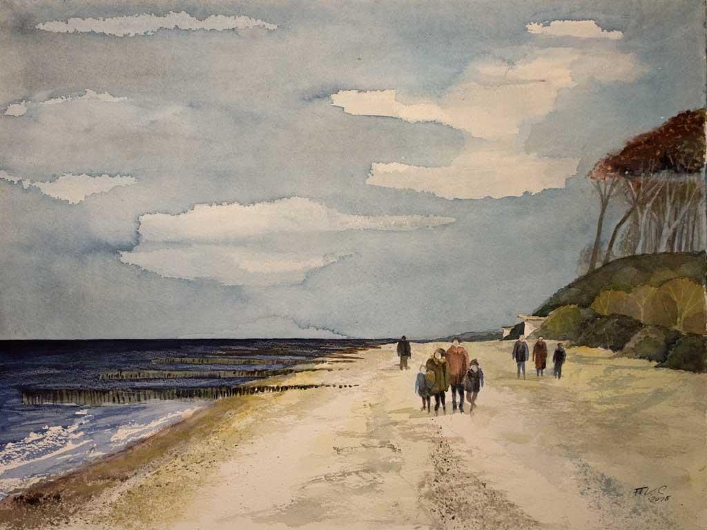 Strandspaziergang bei Nienhagen (c) Aquarell von Frank Koebsch