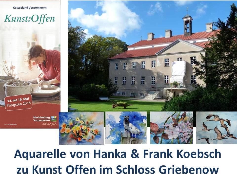 Aquarelle von Hanka & Frank Koebsch zu Kunst Offen 2016 im Schloss Griebenow