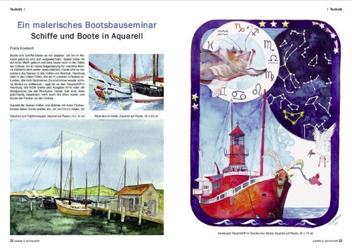 Ein malerisches Bootsbauerseminar - Boote und Schiffe im Aquarell - Frank Koebsch in der Palette 2016 03