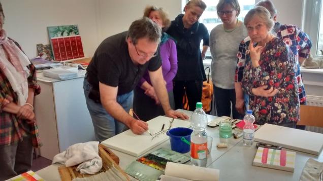 Frank Koebsch Im Aquarellkurs Kirschblüten auf Leinwand (c) Bernd Sturzrehm (2)