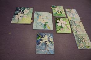 Kirschblüten als Aquarell auf Leinwand (c) Frank Koebsch
