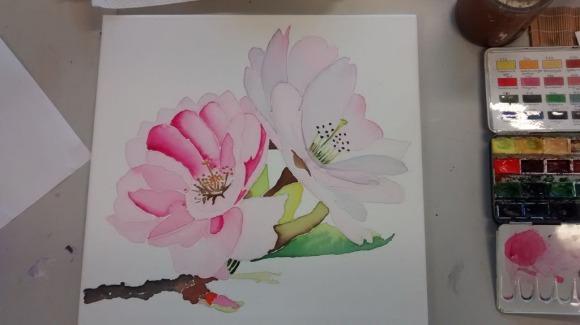 Kirschblüten auf Leinwand (c) Bernd Sturzrehm