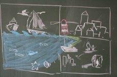 Malen mit den Ostseekindern - zur Vorbereitung ein Tafelbild (c) Frank Koebsch