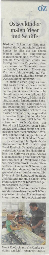 Ostseekinder malen Meer und Schiffe - Ostsee Zeitung 2016 05 21