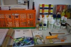 Vorbereitungen für den Malkurs Aquarell auf Leinwand (c) Frank Koebsch