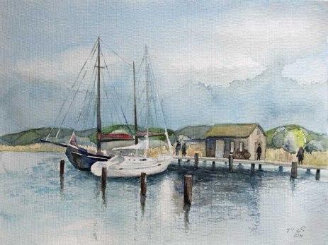 Boote im Hafen von Gager (c) Aquarell von Frank Koebsch