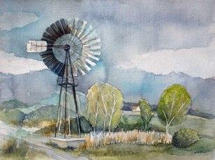 Windschöpfwerk Lobbe auf dem Mönchgut (c) Aquarell Frank Koebsch