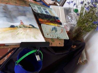 Ein Aquarell vom Leuchtturm Bastorf entsteht (c) Frank Koebsch Juli 2016