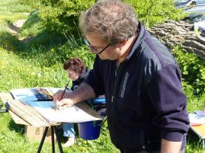 Frank Koebsch malt den Bastorfer Leuchttum (c) Mario Hessenius Juli 2015 (2)