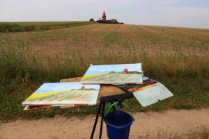 Leuchtturm von Bastorf als Original und Aquarell (c) Frank Koebsch Juli 2015