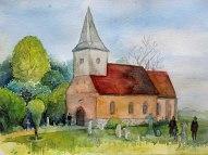 Kirche in Groß Zicker (c) Aquarell von Frank Koebsch