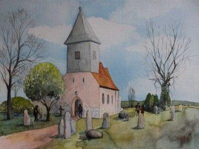Wurzeln des Mönchguts - Kirche in Groß Zicker (c) Aquarell von Frank Koebsch