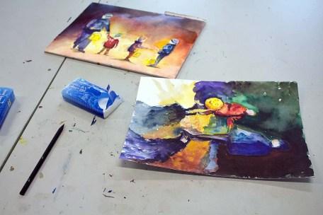 Arbeiten der Malschüler im dem Aquarellkurs Laternenkinder (c) FRank Koebsch (2)