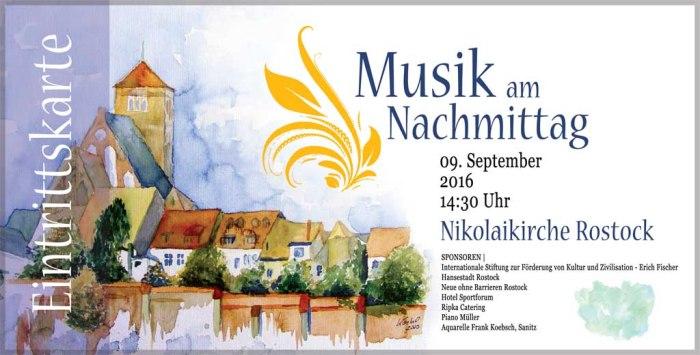 Das Aquarell von Frank Koebsch - Stadtmauer bei der Nikolaikirche - auf der Einladungskarte von Musik an Nachmittag