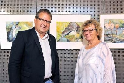 Hanka und Frank Koebsch stellen eine Auswahl ihrer Aquarelle im Atelier Natur des Rostocker Zoos aus