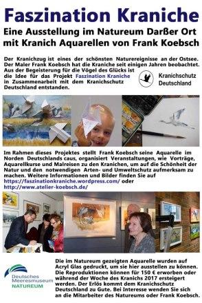 Informationstafel für die Ausstellung Faszination Kraniche von FRank Koebsch im Natureum Darßer Ort