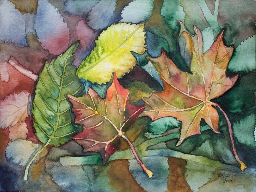 Kunterbunte Herbstblätter (c) Aquarell von FRank Koebsch