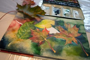 Malen von buntem Herbstlaub Aquarellen (c) FRank Koebsch (2)