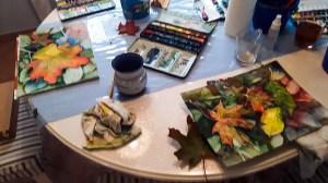 Malen von buntem Herbstlaub Aquarellen (c) FRank Koebsch (5)