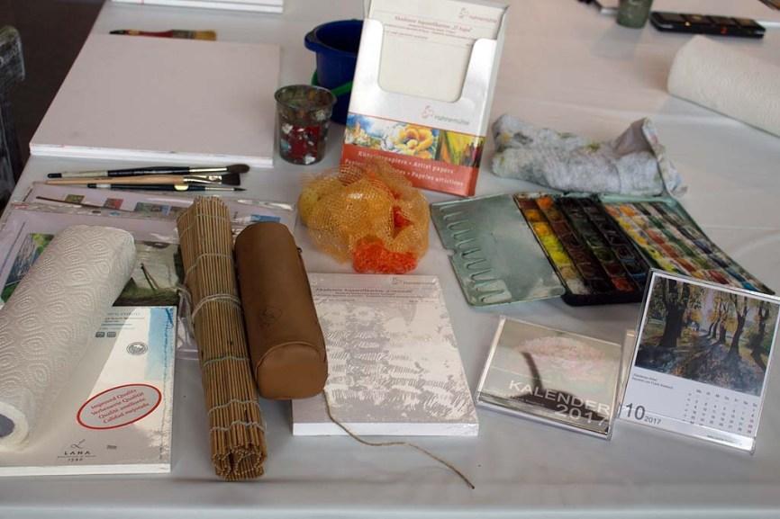 Vorbereitungen für den Aquarellkurs - Allen im Herbst bei Heinr Hünicke(c) FRank Koebsch