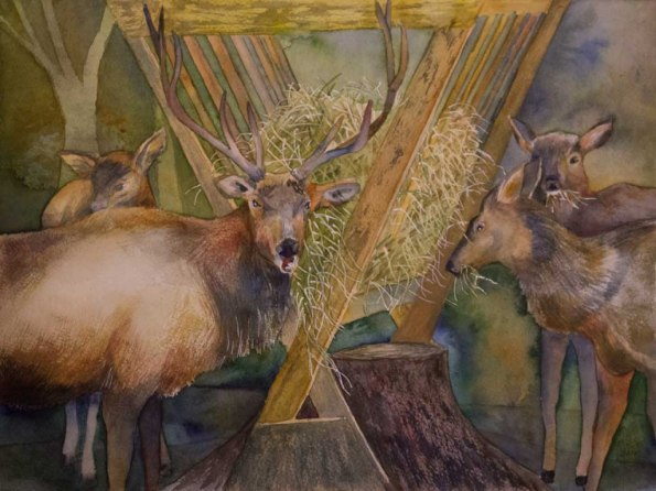 Fütterungszeit für die Hirsche (c) Aquarell von FRank Koebsch