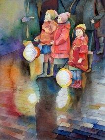 Lasst uns Laterne gehen (c) Aquarell von Frank Koebsch