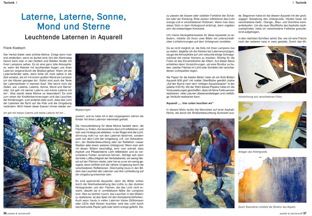 Laterne, Laterne, Sonne, Mond und Sterne - Laternenkiinder von Frank Koebsch in der Palette 2016 - 6 Seite 56 und 57