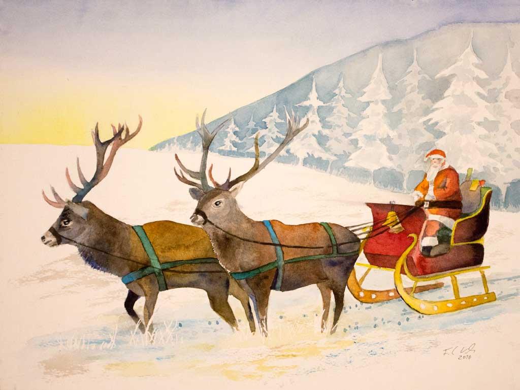 morgen kommt der weihnachtsmann aquarell von frank. Black Bedroom Furniture Sets. Home Design Ideas