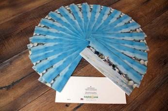 Weihnachtsbillets der SOS KInderdöfer at mit dem Aquarell Wintertraum von Frank Koebsch